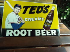 Vintage Ande Rooney Ted's Root Beer Porcelain Enamel Sign. Ted Williams Red Sox