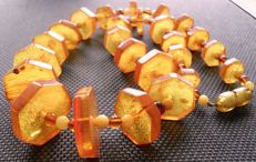 Art Deco natural amber necklace light butterscotch, 23.2 g – from the Art Deco period, no reserve