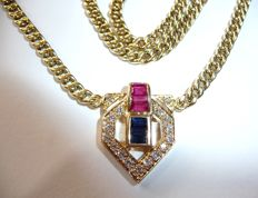 Chain necklace made of solid 14kt / 585 gold with ruby and sapphire baguettes and 17 diamonds approx. 1.8ct in total.