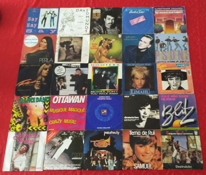 Lot of 25 Singels by Rod Michael Jackson; Paul McCartney; Lionel Richie; Eric Clapton; Supertramp; Perla; Sting; Cher; Halo James; The Pasadenas; Secret Service; Hooters; Limahl and More