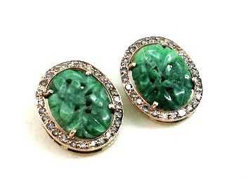 Earrings with inlaid jade and diamonds totalling 0.70 ct