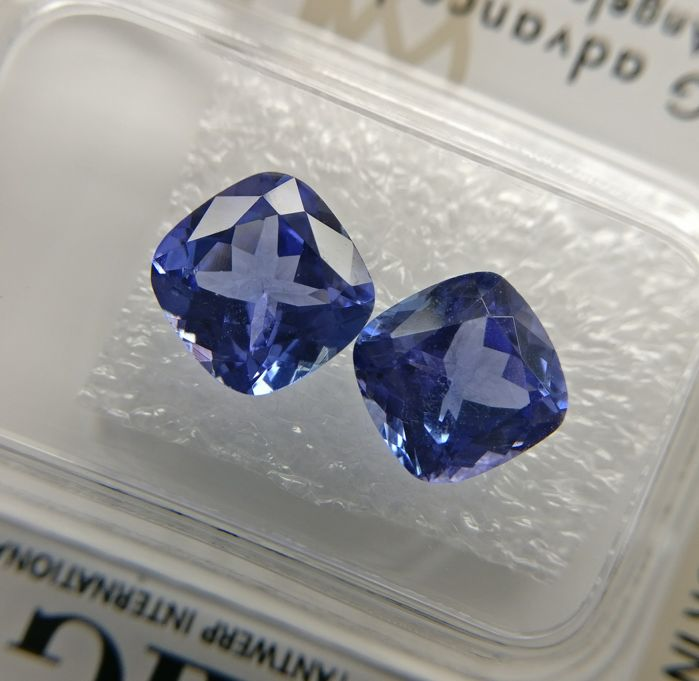 Couple Tanzanite Purplish Blue total 3.54 ct