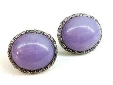 Earrings with purple jade and diamonds