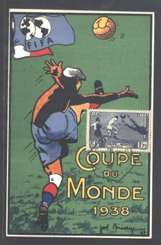 "France, 1938 - Official postcard of ""Coupe du Monde 1938"" (Football World Cup 1938) - Yvert no. 396"
