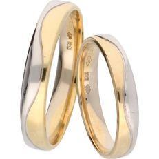 14 kt bi-colour gold wedding ring set - 20.75 mm + 16.75 mm