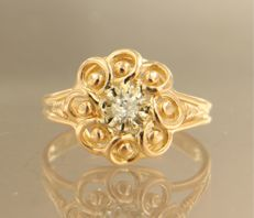 18 kt rose gold ring set with a Bolshevik cut diamond - approx. 010 ct in total - ring size 17.25 (54)