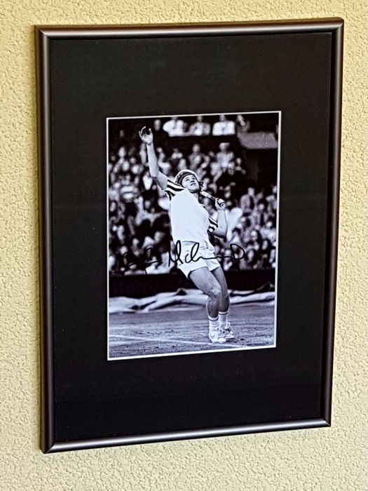 John McEnroe - Tennis legend - original autographed 3D framed photo, black and white + COA