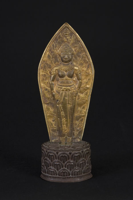 A Cham gold votive tablet on silver pedestal - 224 mm - unique in the world