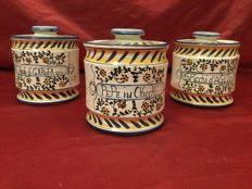 Vecchia Deruta, Italy, three handmade polychrome ceramic spice jars with lid