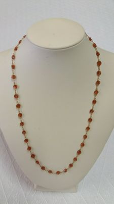 Necklace with Mandarin Garnet (Hessonite) and 18 kt gold - 44 cm