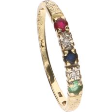 14 kt Yellow gold ring set with emerald, sapphire, ruby and 2 brilliant cut diamonds of approx. 0.005 ct each - Ring size: 16.5 mm.