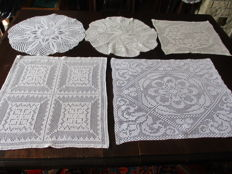 Lot of five table cloths crochet with white mercerise yarn.