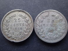 The Netherlands - 25 cents 1849/1890b without dot, Willem II and Willem III - silver
