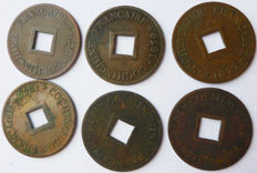 French Cochinchina – Cash (1/500 of piastres) 1879 A (batch of 6 coins) – Bronze