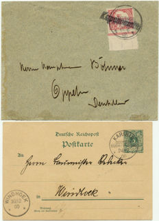 German South West Africa predecessor of the postcard 36 with cancellations Karibib and Mi no. 13 on letter with travelling cancellation Kapenousseu 21/02/02