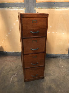 Designer unknown - Wooden filing cabinet with 4 drawers