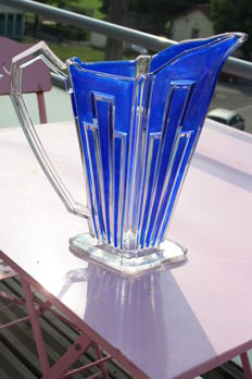 Important blue crystal pitcher - Val Saint Lambert - Art-deco