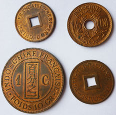 French Indochina – Batch of 4 coins 1888/1935 – Bronze