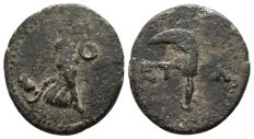 Greek Antiquity - PISIDIA, Æ18 of Etenna (18mm; 2.58g.) 1st century BC. (Nymph /  Curved knife)