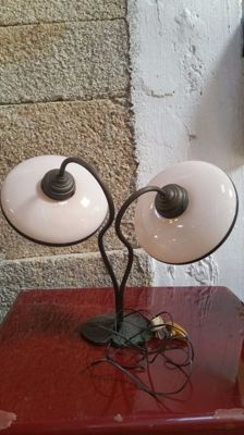 Lamp with 2 opaline vintage tulips