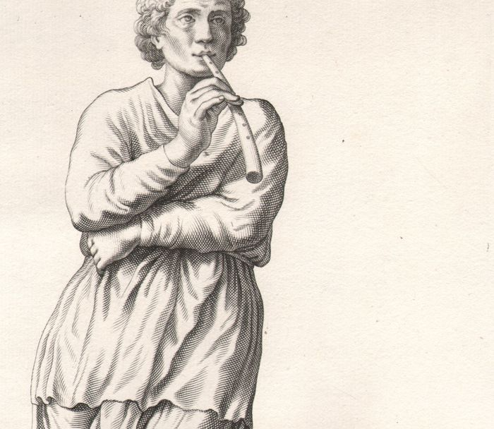 Cornelis Bloemaert ( 1603 - 1692) - Antique statue of a Flute player - Ca. 1635
