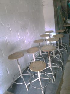 Ten stools Tubax, stools with screws in industrial design - circa 1960
