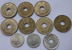 French Indochina - 5 cents 1923-1946 (series of 10 different coins).