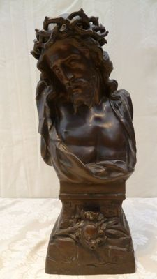 Statue of suffering Christ with Crown of thorns, cast iron and bronze patinated, France