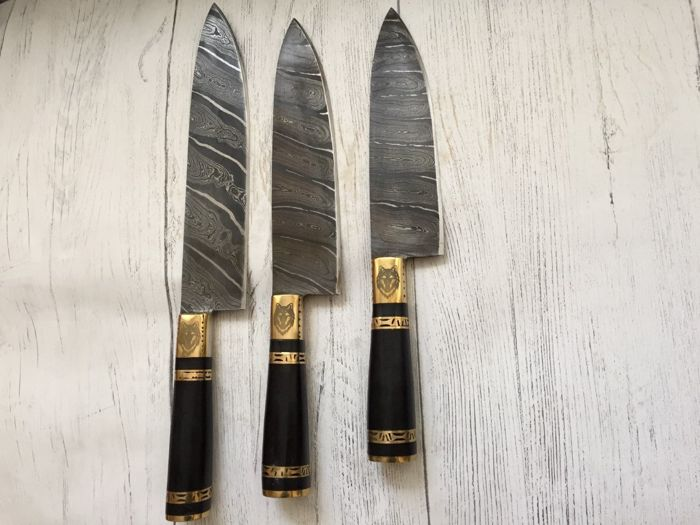 3 pc Damascus kitchen knife set in top quality of 356 true layers Damascus  steel guaranteed razor balde - Catawiki