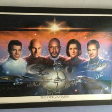 Star Trek The Five Captains Lithograph Signed by Shatner, Stewart, Brooks, Mulgrew and Bakula