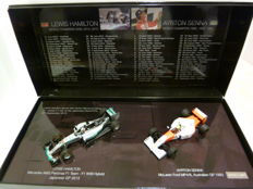 Minichamps - Scale 1/43 - Lot with 2 models: Mercedes & McLaren - Lewis Hamilton equalling Ayrton Senna's 41st Carreer Win