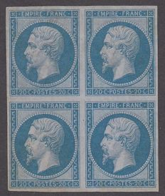 France 1860 – 20c blue in block of 4 – Yvert 14B