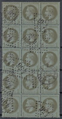 France - 1c olive block of 15 - Yvert 25