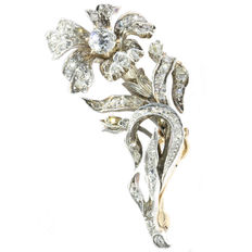 Victorian gold backed silver branch brooch encrusted with 80 diamonds, anno 1870, Reduced price