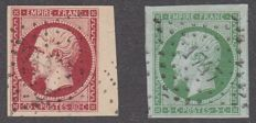 France 1854 – Stamps selected with large margin – Yvert 17A and 12.