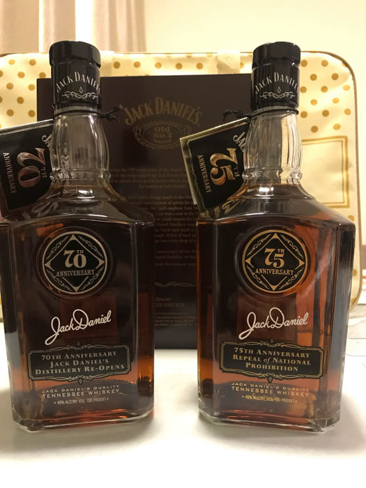 2 bottles - Jack Daniel-Repeal of Prohibition - 75th And 70th Anniversary