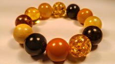 Round beads modified mix colour Baltic Amber bracelet, Diameter for hand ca. 53 mm, 38 grams