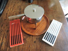 Stelton - fondue set with accompanying forks and tray