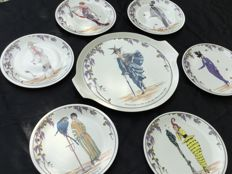 Villeroy & Boch - Cake plate with 6 dessert plates - Fashion design 1900