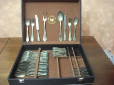Cutlery set in 800 silver plating, new and never used