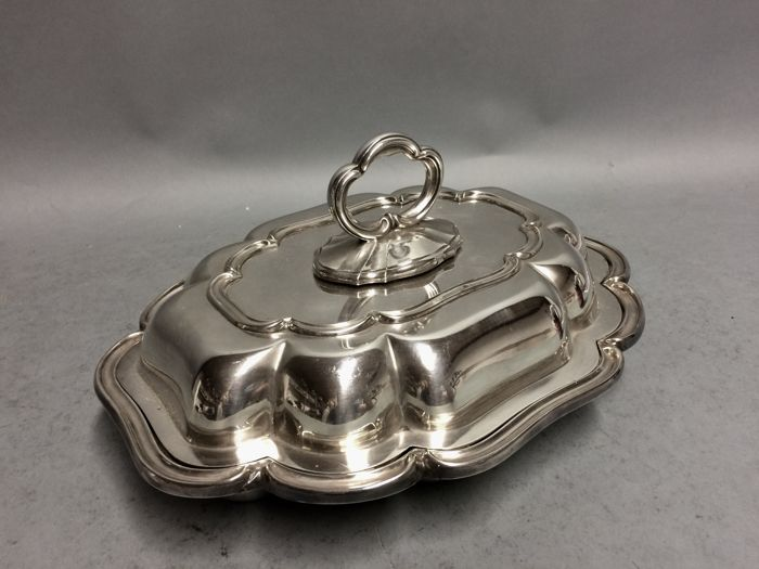 Silver plated double serving tray with removable knob, England, ca. 1900