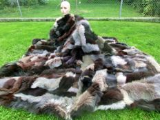 XXL high-quality fur blanket silver fox blue fox