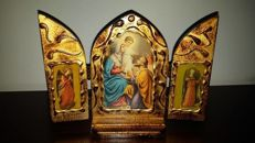 Antique Triptych altarpiece on wood of Holy Family with Angels. Ca. 1940
