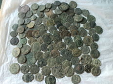 Roman Empire, lot of 110 coins of various emperors (low quality) small units