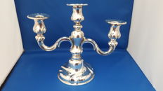 3 armed silver candle stand, 20th century
