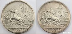 Kingdom of Italy - 2 lire 'Quadriga' ['Chariot'] 1915 and 1916 Vittorio Emanuele III - silver