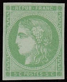 France 1870 – Bordeaux 5c green – Yvert 42B.