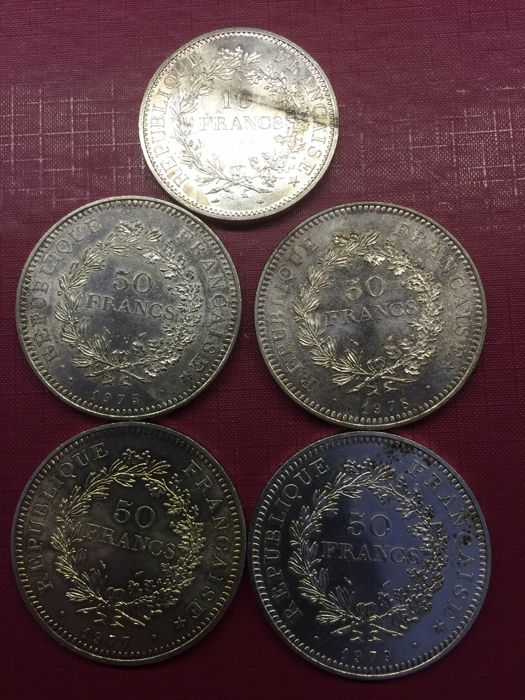 France – 10 francs and 50 francs 1970-1979 (lot of 5 coins) – Silver.