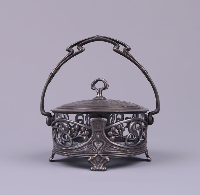 Art Nouveau pewter and glass jam or butter dish