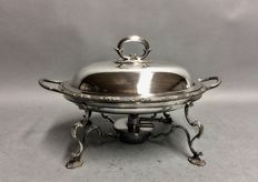 Silver plated combination of a serving tray and a brazier, Hukin & Heath, Birmingham, England, ca. 1890